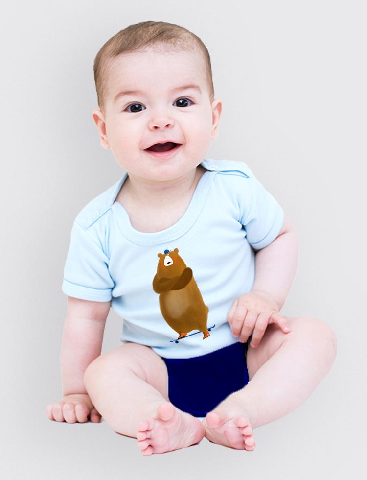 Baby tričko Méďa skejťák