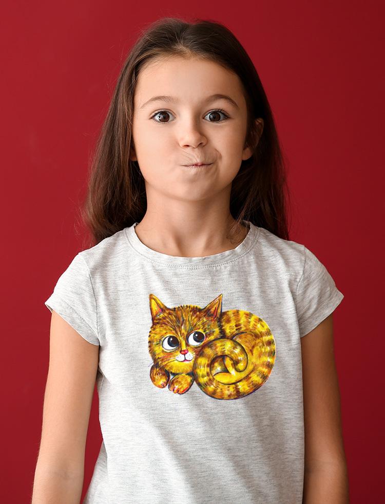 Schoulená kočka modroočka  -  tričko