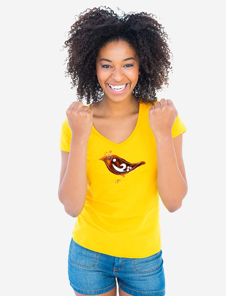Ptáček zpěváček na tričku